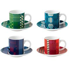 Royal Doulton - Paolozzi Mixed Espresso Cups & Saucers Set of 4