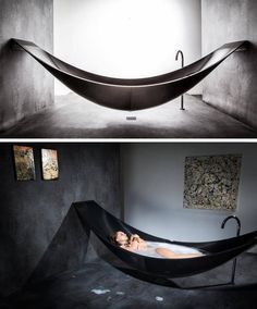 Hammock Bathtub Provides Ultimate Relaxation deluxe hammock-style bathtub by Splinter Works of Britain.deluxe hammock-style bathtub by Splinter Works of Britain. Dream Bathrooms, Beautiful Bathrooms, Small Bathrooms, Beautiful Kitchen, Hammock Bathtub, Big Bathtub, Modern Bathtub, Bathtub Ideas, Room Hammock