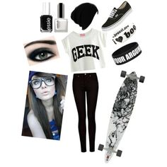Black and white longboarding outfit