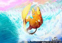 SURF! by KeroKikka.deviantart.com on @DeviantArt (Alolan Raichu)