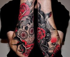 red and black tattoo