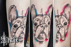 Martin Tattooer Zincik - French Bulldog tattoo design, illustration, abstract watercolor, Czech tattoo artist, Tetování Praha / Brno
