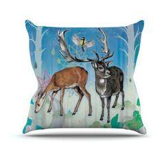 Kess InHouse Mat Miller Reindeer Indoor/Outdoor Throw Pillow - MM2012AOP04