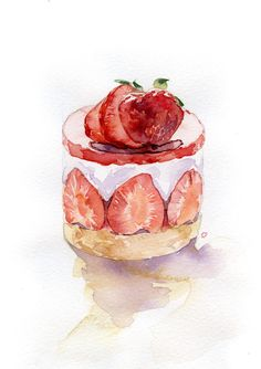 strawberry clipart,cake clipart,dessert,students c Cake Drawing, Food Drawing, Drawing Ideas, Strawberry Clipart, Watercolor Food, Simple Watercolor, Tattoo Watercolor, Watercolor Trees, Watercolor Animals