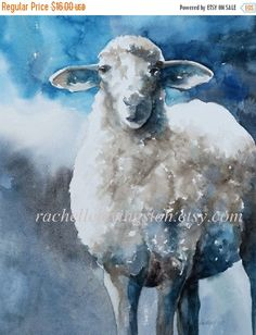 blue nursery art SHEEP PRINT from watercolor by rachellelevingston