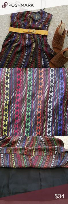 Jack by BB Dakota multicolor ethnic print dress L This adorable multicolored spaghetti-strap dress from Jack by BB Dakota is new with tags and never worn.  Belt and shoes not included. Jack by BB Dakota Dresses Mini
