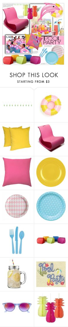 """Pool Party Decor"" by fassionista ❤ liked on Polyvore featuring interior, interiors, interior design, home, home decor, interior decorating, Sunnylife, ban.do, OFFI and My Little Day"
