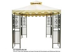 DC America 10'x10' Two Tier Steel frame Gazebo, Beige Top with Brown Edge and 8 Grommets - Outdoor Living - Gazebos, Canopies & Pergolas - G...