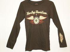 Harley Davidson Womens Brown Flying Wheel Longsleeve ~ Small *CLOSED DEALERSHIP* #HarleyDavidson #GraphicTee