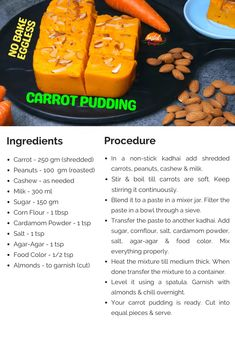 Carrot Pudding | No Bake Eggless Pudding | Tasted Recipes Snacks Recipes, Sweet Recipes, Cooking Recipes, Carrot Pudding, Burfi Recipe, Pudding Ingredients, Roasted Cashews, Vegetarian Snacks, Cashew Milk