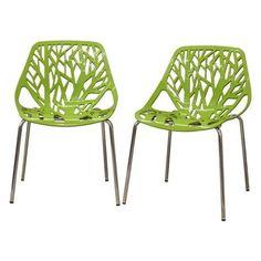 #Houzz - #Baxton Studio Baxton Studio Birch Sapling Green Plastic Modern Dining Chair, Set of 2 - AdoreWe.com