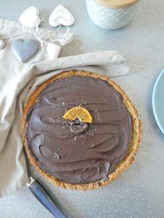 Tarte saine à l'orange et au chocolat  ( Sans gluten, vegan, riche en omega-3/et 9, index glycémique contrôlé )