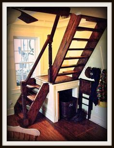 I think I may have found a solution for our spiral stairs issue --  Custom stairs for small spaces by SmithworksDesign on Etsy, $800.00
