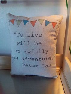 Nursery pillow handmade Peter Pan quote nursery decor kids room decor ornament shabby chic boho fun children baby accent unique home decor on Etsy, $26.00