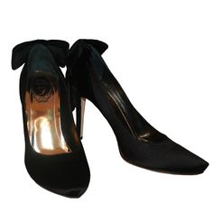 Rene Caovilla Black Satin Heels w/ Velvet Bow - 38.5 | From a collection of rare vintage shoes at https://www.1stdibs.com/fashion/clothing/shoes/