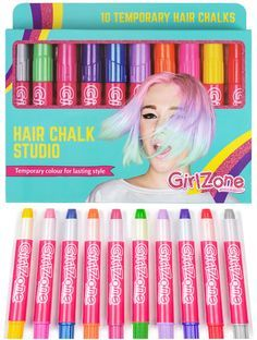 GirlZone: Hair Chalk Christmas Birthday Gifts For Girls, 10 Colorful Hair Chalk Pens. Temporary Color, Presents For Girls Age 4 5 6 7 8 9 10 Years Old, Teenage Girl Gifts, Tween Girls, Toys For Girls, Kids Girls, Unique Gifts For Boys, Presents For Girls, Trending Christmas Gifts, Christmas Gifts For Girls, Christmas 2019