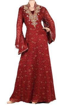 "aljalabiya.com: ""Rebecca Ruby"" Chiffon and velvet patterned kaftan with gold print and embroidery (N-13852-15) $258.00"