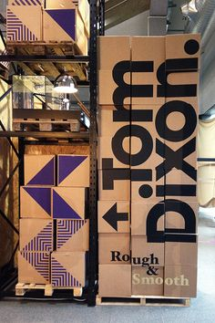 Individual boxes stacked to create a larger messages Signage Display, Retail Signage, Wayfinding Signage, Signage Design, Typography Design, Design Set, Store Design, Event Design, Environmental Graphic Design