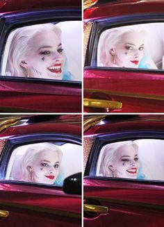 On set pics of the GORGEOUS Margot Robbie as Harley Quinn in Mistah J's fancy, red sports car.