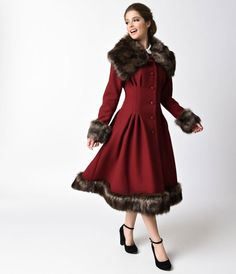 Collectif Vintage Style Burgundy Wine Button Up Pearl Coat