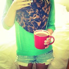 Adorable...I love the coffee mug with that. I'm not a big coffee person but I would drink it just with this outfit!!!