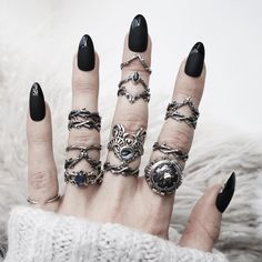 "4,873 Likes, 21 Comments - The Horror Gallery (@thehorrorgallery) on Instagram: ""★ @shopdixi showing us how to stack with bad ass rings from 'Running With The Wolves' Collection,…"""