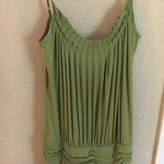 BCBG Max Azria jersey cocktail dress Olive green jersey dress.. Grecian drapery and goes a tad past the knee- extremely flattering.  Worn once. BCBGMaxAzria Dresses