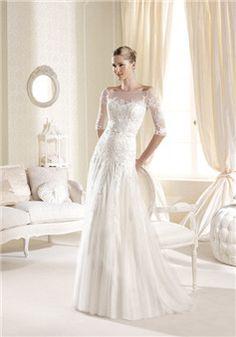 Off the Shoulder Floor Length Dropped Waist A line Lace & Tulle Zipper Back Wedding Dresses - Lunadress.co.uk
