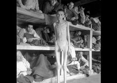 Jewish prisoners in Buchenwald concentration camp, after the liberation of the camp in 1945.