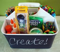 A small art caddy is makes it easy to move from room, but even better, it's easy to grab and go to Grandma's house.