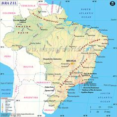 Brazil is the largest countries in south America. This beautiful map of Brazil shows places of importance from tourist point of view Rio Grande Do Norte, Social Studies Worksheets, South American Countries, Brazil Travel, Country Maps, Largest Countries, Tourist Places, Travel Maps, View Map