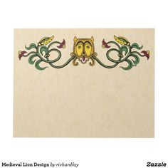 Medieval Lion Design Notepad.  ENDS AT MIDNIGHT PT: 50% Off Notepads Use Code: ZPERFECTPAIR  Offer is valid through October 5, 2017, 11:59 PM PT.  #Zazzle #notepad #lion #medieval_lion #medieval_lion_design