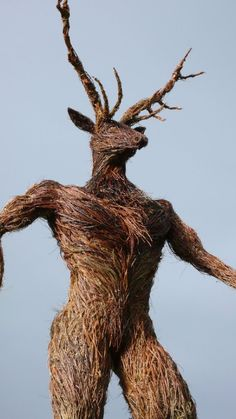 Wicker Sculpture - Herne the Hunter  by Trevor Leat and Alex Rigg.  www.trevorleat.co.uk