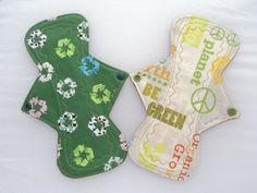 """SET OF TWO - Reusable Cloth Menstrual Pads - 9.25"""" Heavy Absorbency - Be Green - YURTCRAFT on ETSY. I love these! I am addicted to cloth pads!"""