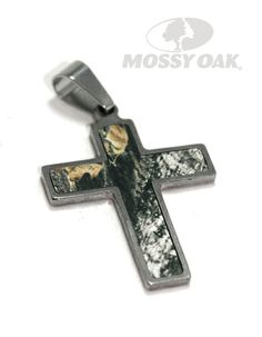 Mossy Oak Break-Up Camouflage Elegant Titanium Cross Necklace. Leather cord color available in pink, purple, and black.