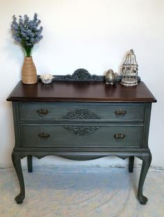 hand painted by Christina Dutill - Valspar Murky Sage. Gardz clear primer - amazing at stain blocking plus it's clear so if you want to distress over say a black you don't see white primer. Home made glaze then a coat of clear soft wax Dresser Furniture, Refurbished Furniture, Paint Furniture, Furniture Makeover, Dressers, Redo Nightstand, Furniture Design, Furniture Dolly, Coaster Furniture