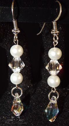 Beautiful hand crafted earrings. Swarovski and Crystazzi crystal pearls with stainless steel earring posts. See www.alliekatoriginals.com for details.