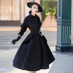 4233094260efe Black Wool Retro Coat. LizethAbrigosTrajes Pin UpLana NegraModa ...