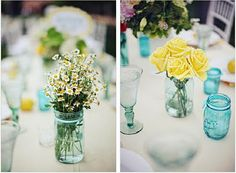 this goes along with the centerpiece ideas, i love having the flowers in mason jars, and having the mason jars be a shade of blue....i like the idea of having every table have a similar but slightly different centerpiece