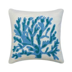 "Designer Sea Weeds, Corals Pillow Cover 16""x16"", Cotton Linen Toss Pillow Cover Beaded Toss Cushion Sea Creatures Beach - Seaweed Breeze Coral Pillows, Blue Throw Pillows, Velvet Pillows, Linen Pillows, Toss Pillows, Blue Pillow Covers, Decorative Pillow Covers, Blue Wedding"