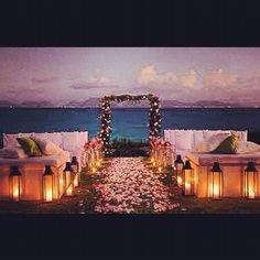 What A Beautiful Set Up For An Evening Beach Wedding