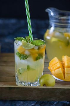 Mango Mojito recipe you can make this with alcohol or without alcohol. An Easy summer drink recipe with mangos, ginger, fresh mint, and lime juice.