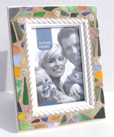 4 x 6 Floral Mosaic Photo Picture Frame Gift for Her Feminine Gardener Cottage Chic Decor Nautical Frame Photo Mosaic, Hippie Art, Photo Picture Frames, Handmade Home, Handmade Gifts, Brighten Your Day, Love Flowers, Cottage Chic, Mosaic Glass