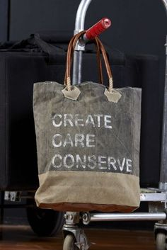 Create Care Conserve Canvas Bag / #Vintage #Eco #Inspired #Canvas #Bag #Handbag #Purse #Upcycled #Recycled #Green #Earth #MonaB #Mona B