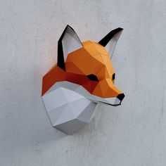 Fox head - finished paper sculpture