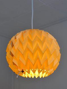 "Origami Paper Lamp Shade / Lantern ""Bubble"" - GOLD YELLOW"