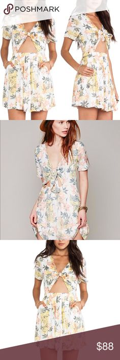b345dfae7473f Free People • Part Time Lover Floral Tie Dress