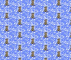 Small Yorkie Boy On Blue fabric by KiniArt on Spoonflower - custom fabric.  © KiniArt - Kim Niles. All Rights Reserved