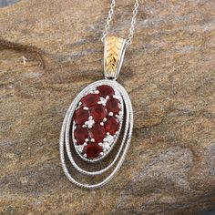 Jalisco Cherry Fire Opal and White Zircon Pendant with Chain in 14K Yellow Gold and Platinum Overlay Sterling Silver (Nickel Free)