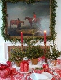 rough luxe lifestyle: 15 Traditional Red Christmas Tablescape Ideas…And the Winner Is! Flocked Christmas Trees, Noel Christmas, Winter Christmas, All Things Christmas, Christmas Drama, Woodland Christmas, Xmas, Christmas Table Settings, Christmas Tablescapes